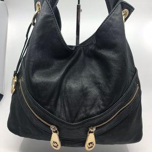 Michael Kors Black Leather Zip Shoulder Bag